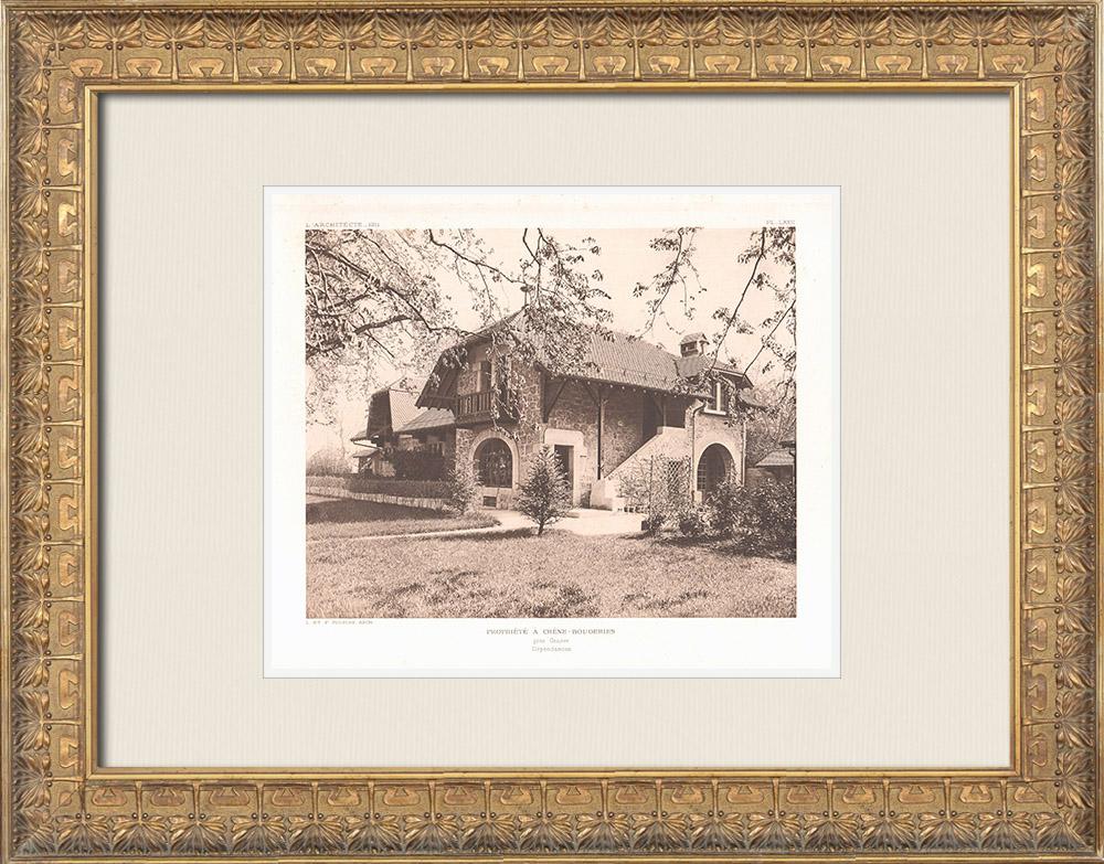 Antique Prints & Drawings | House in Chêne-Bougeries - Canton of Geneva - Switzerland (Léon & Frantz Fulpius) | Heliogravure | 1911