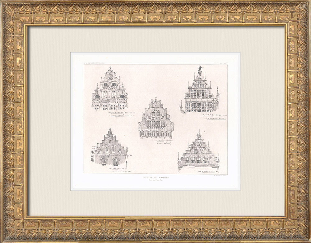 Antique Prints & Drawings | House gables in the Netherlands | Heliogravure | 1911