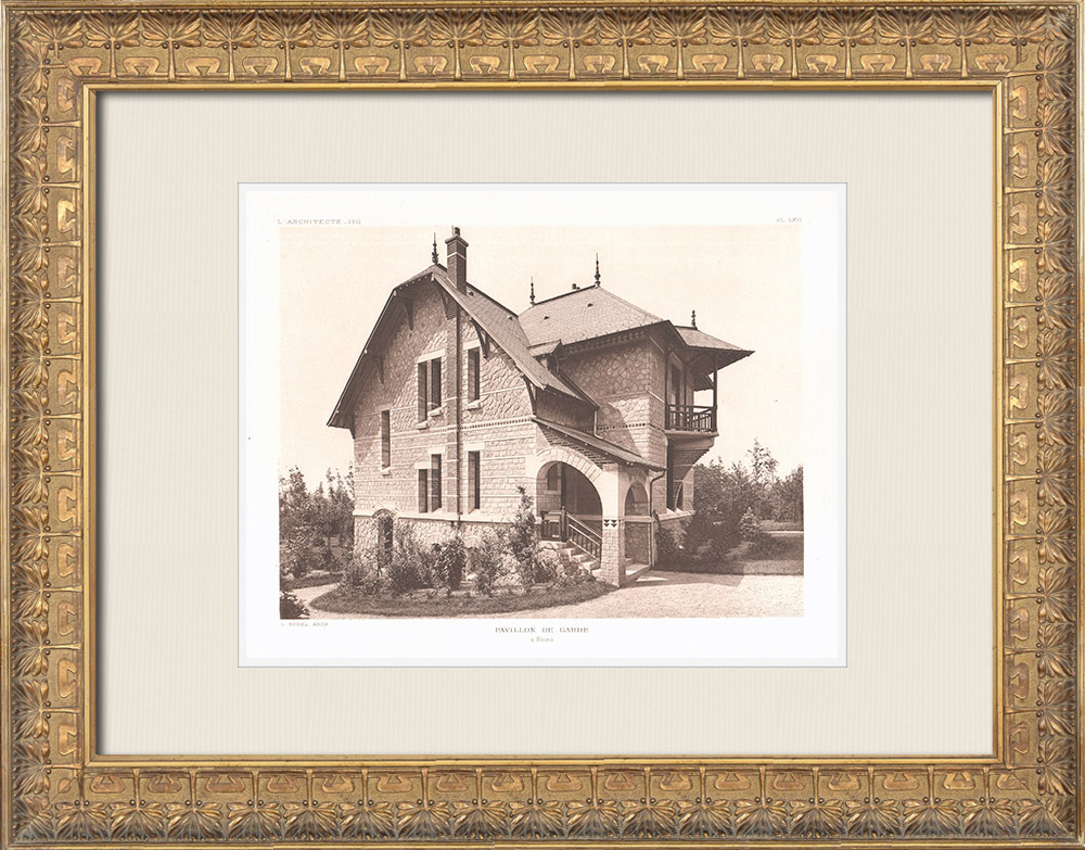 Antique Prints & Drawings | Keeper's house in Reims - Marne - France (L. Sorel) | Heliogravure | 1911