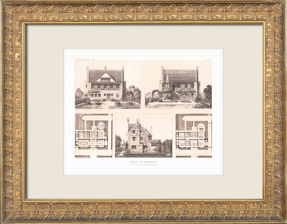 Antique Prints & Drawings | Country house near Lisieux - Calvados (Charles Rabussier) | Heliogravure | 1911