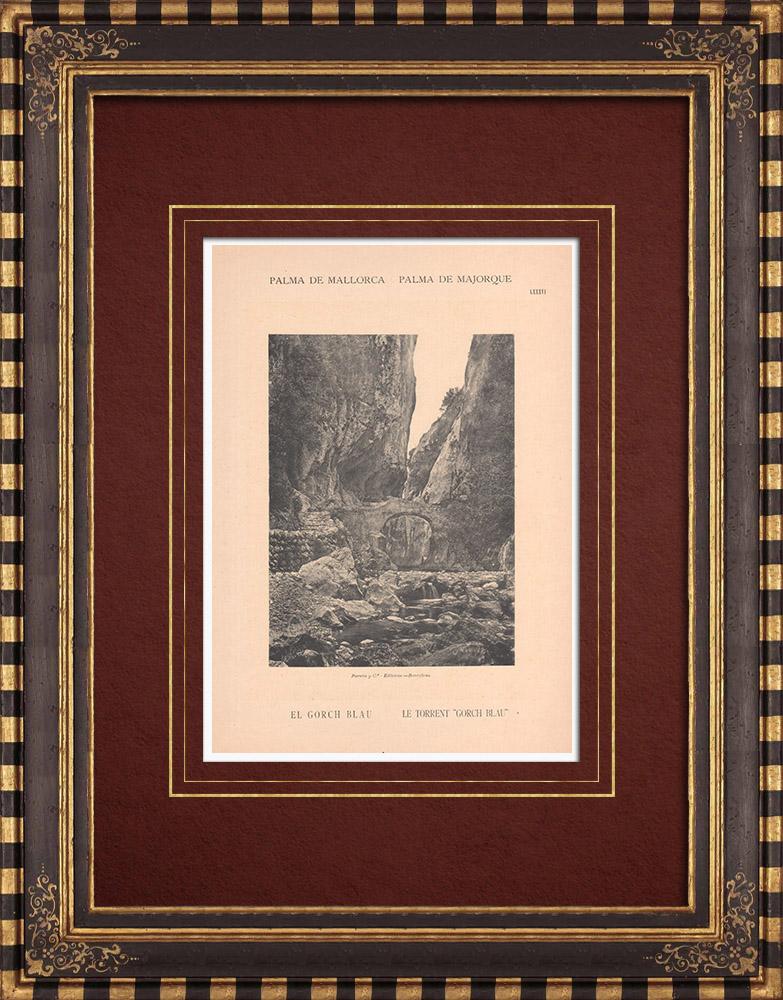 Gravures Anciennes & Dessins | Le Torrent Gorg Blau - Majorque - Îles Baléares (Espagne) | Phototypie | 1899