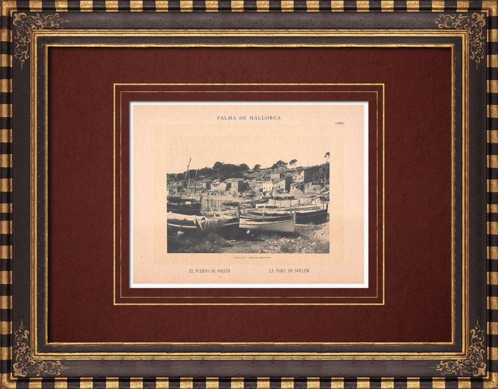Gravures Anciennes & Dessins | Port de Sóller - Majorque - Îles Baléares (Espagne) | Phototypie | 1899
