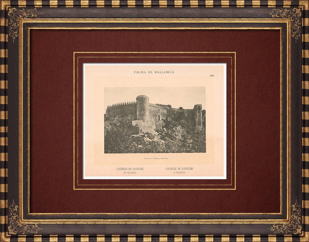 Antique Prints & Drawings | Santueri Castle in Felanitx - Majorca - Balearic Islands (Spain) | Phototypie | 1899