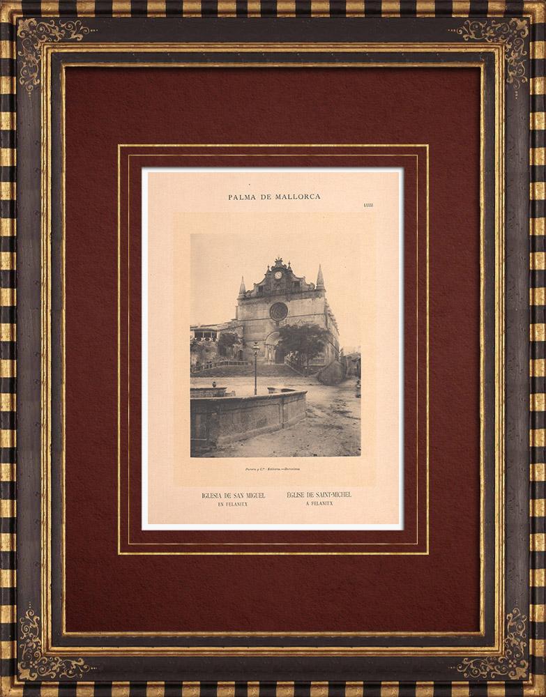 Antique Prints & Drawings   Church St. Michael in Felanitx - Majorca - Balearic Islands (Spain)   Phototypie   1899