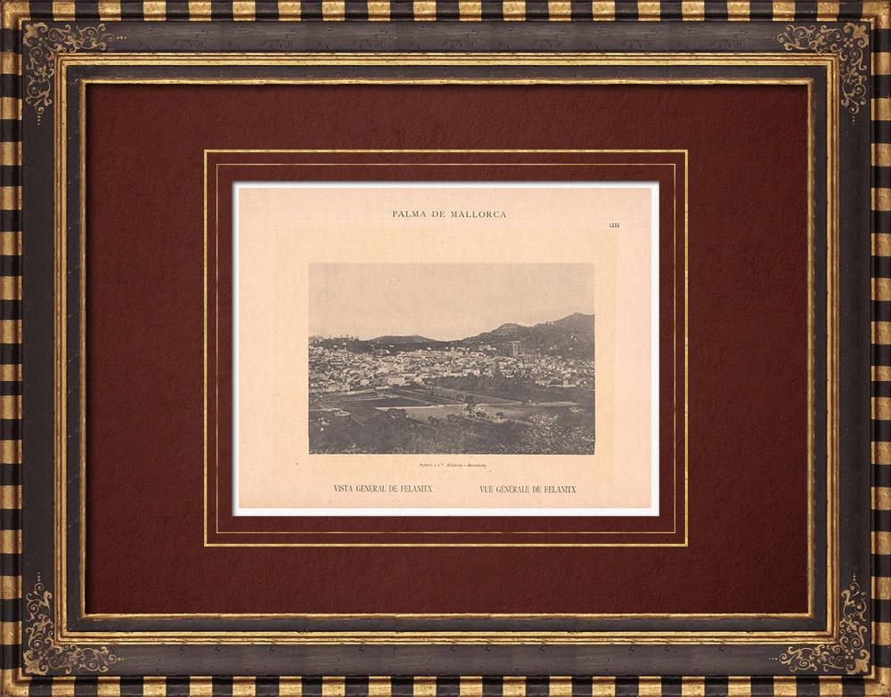 Antique Prints & Drawings | View of Felanitx - Majorca - Balearic Islands (Spain) | Phototypie | 1899