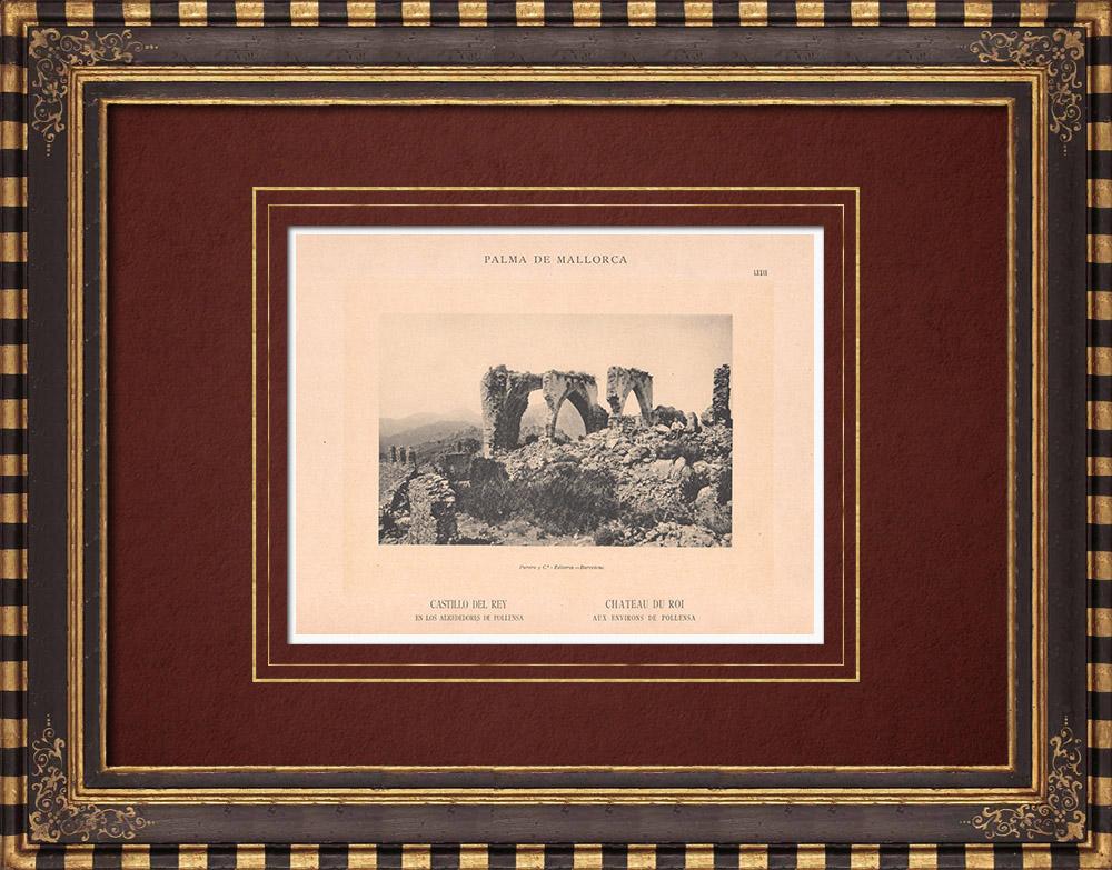 Antique Prints & Drawings | Castle - Castell del Rei close to Pollença - Majorca - Balearic Islands (Spain) | Phototypie | 1899