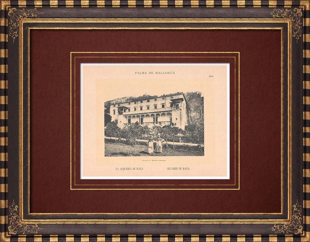 Antique Prints & Drawings | Raixa farmhouse - Bunyola - Majorca - Balearic Islands (Spain) | Phototypie | 1899