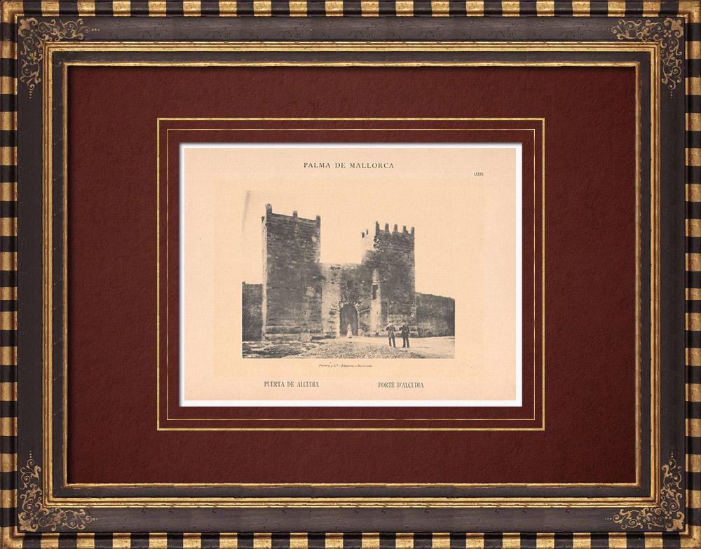 Gravures Anciennes & Dessins | Porte du mur d'Alcudia - Majorque - Baléares (Espagne) | Phototypie | 1899