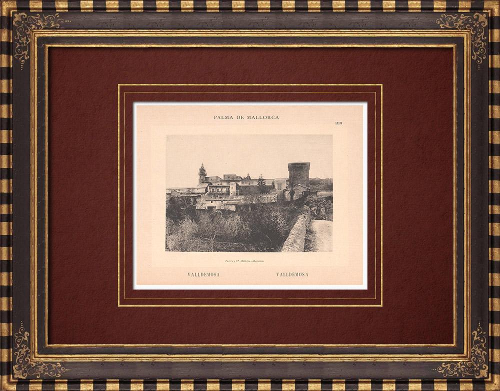 Antique Prints & Drawings | View of Valldemossa - Serra de Tramuntana - Majorca - Balearic Islands (Spain) | Phototypie | 1899