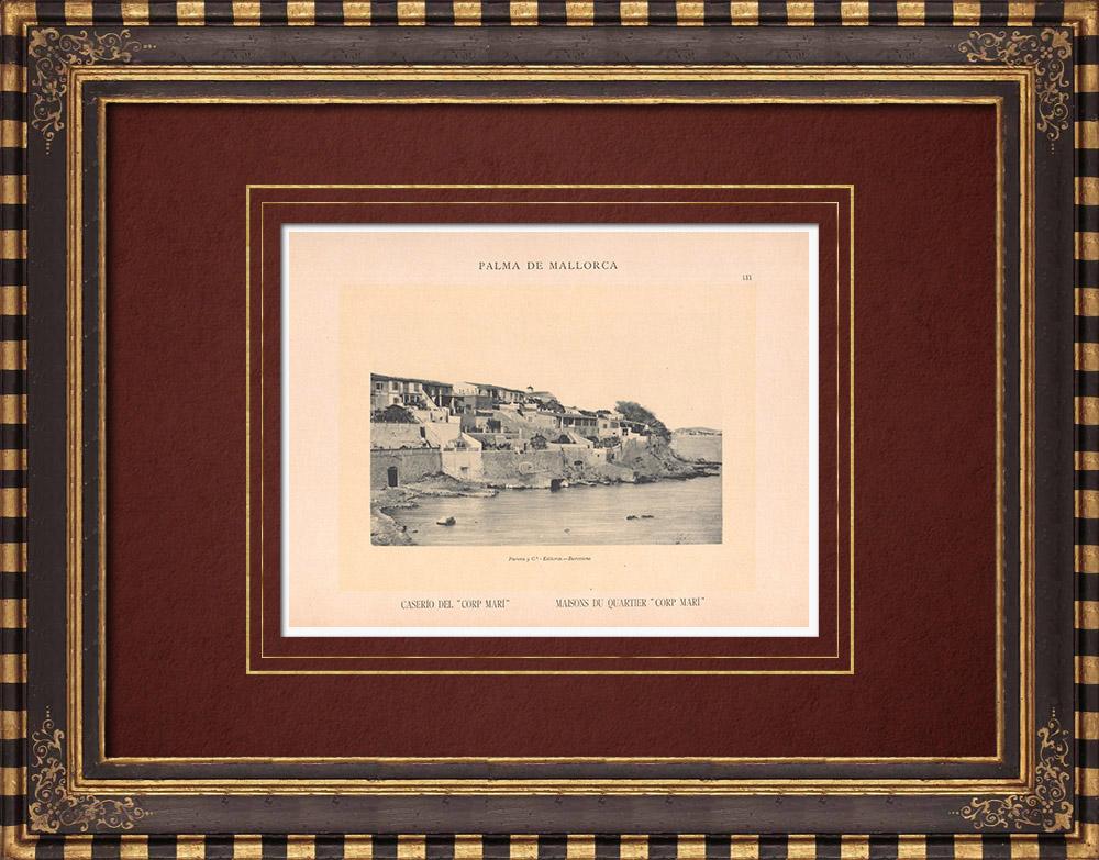 Antique Prints & Drawings | Houses of quarter Corp Mari - Palma de Mallorca - Balearic Islands (Spain) | Phototypie | 1899