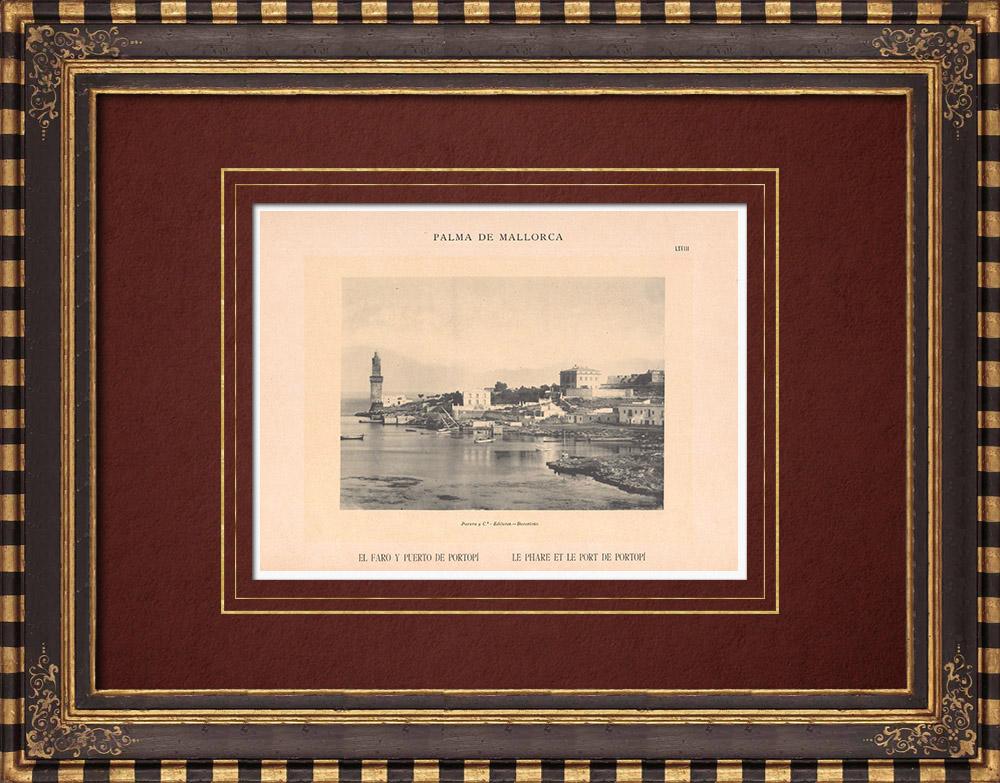 Antique Prints & Drawings   Lighthouse and Port of Portopí - Palma de Mallorca - Balearic Islands (Spain)   Phototypie   1899