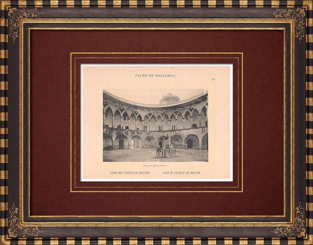 Antique Prints & Drawings   Bellver Castle - Courtyard - Majorca - Balearic Islands (Spain)   Phototypie   1899