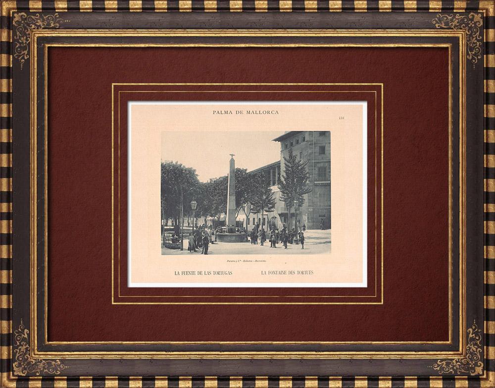 Gravures Anciennes & Dessins   La fontaine des Tortues - Palma de Majorque - Îles Baléares (Espagne)   Phototypie   1899