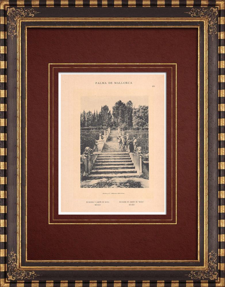 Gravures Anciennes & Dessins   Escalier et Jardin de Raixa - Bunyola - Majorque - Îles Baléares (Espagne)   Phototypie   1899