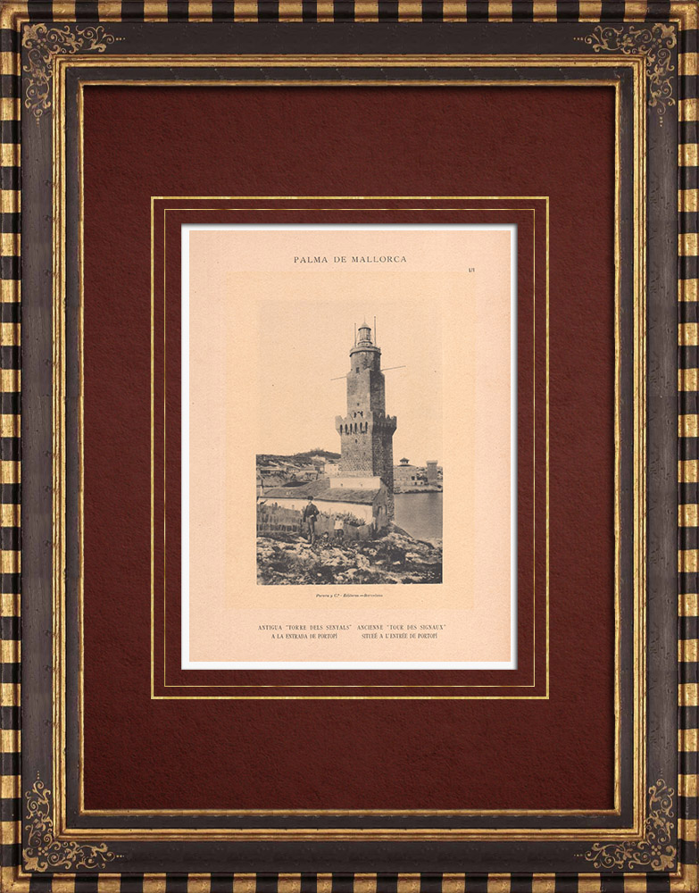 Antique Prints & Drawings   Porto Pí Lighthouse - Palma de Mallorca - Balearic Islands (Spain)   Phototypie   1899