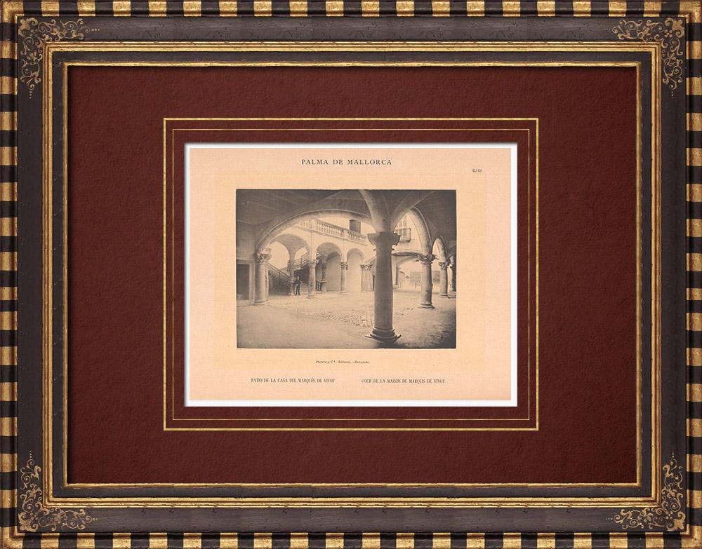 Gravures Anciennes & Dessins | Cour du palais du Marquis de Vivot - Palma de Majorque - Îles Baléares (Espagne) | Phototypie | 1899