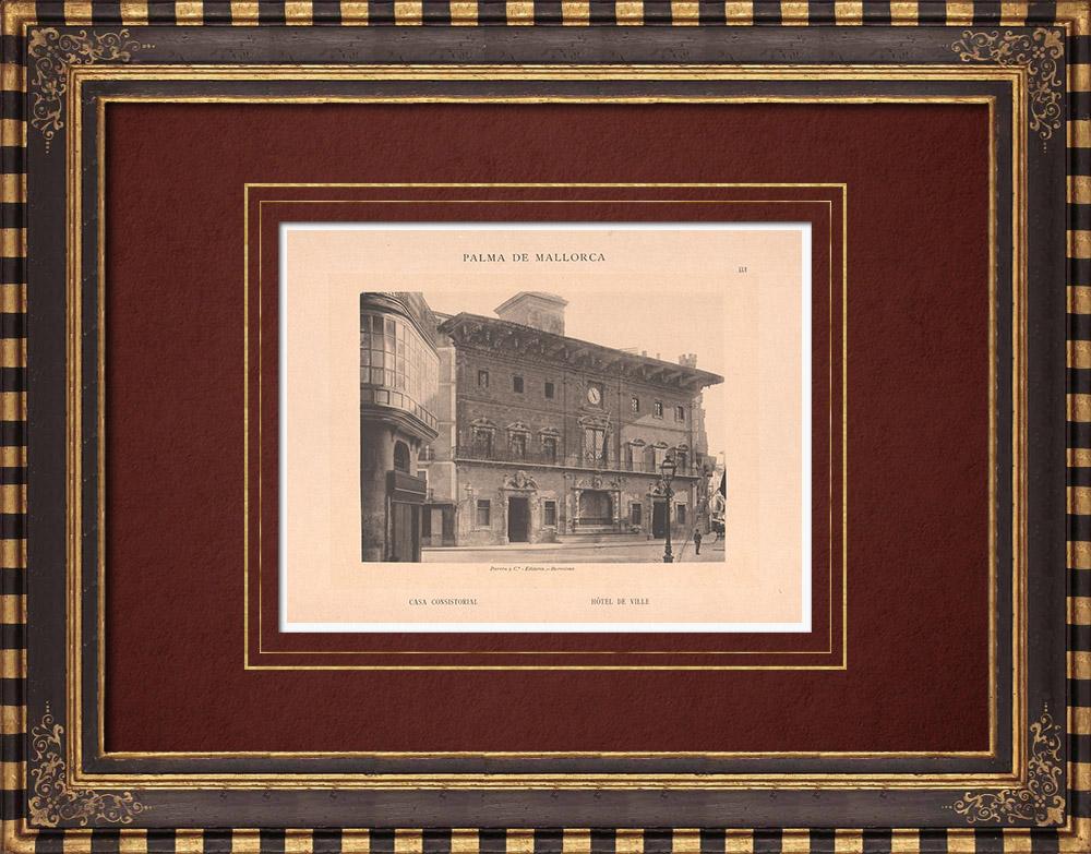 Antique Prints & Drawings | City Hall of Palma de Mallorca - Balearic Islands (Spain) | Phototypie | 1899