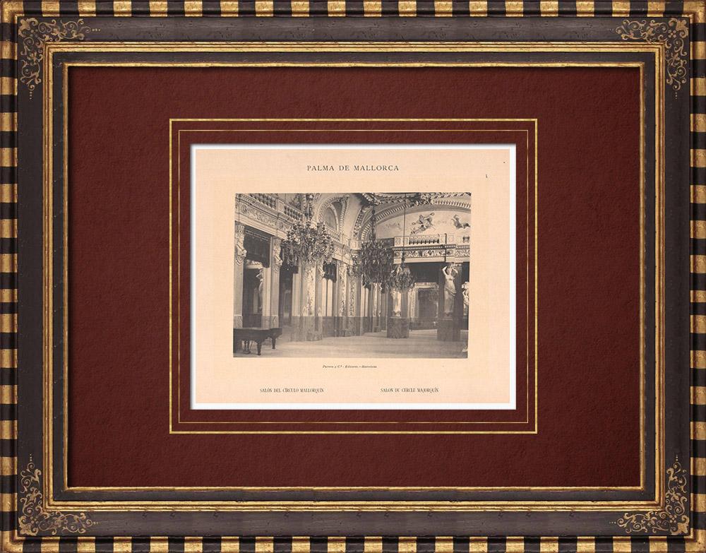 Antique Prints & Drawings   Salón del Círculo Mallorquín - Palma de Mallorca - Balearic Islands (Spain)   Phototypie   1899