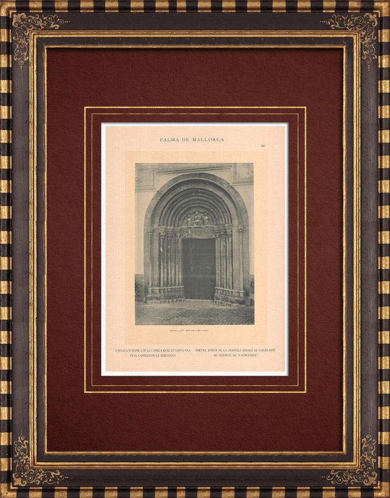 Gravures Anciennes & Dessins | Palais de l'Almudaina - Chapelle Ste-Anne - Palma de Majorque - Îles Baléares (Espagne) | Phototypie | 1899