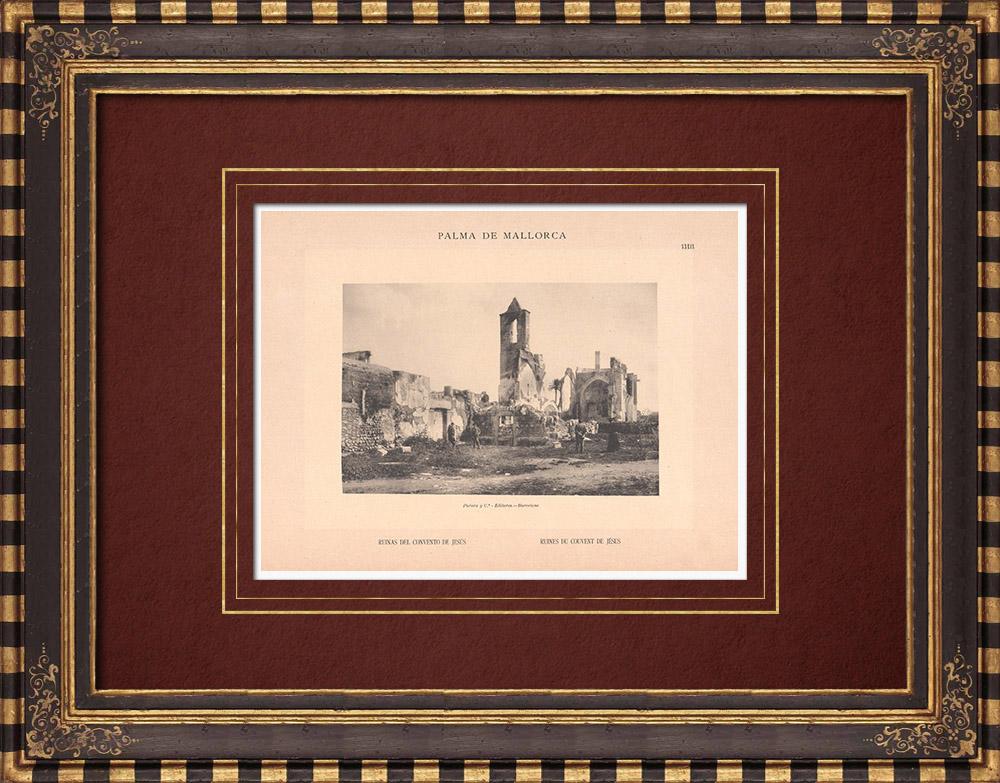 Antique Prints & Drawings   Ruins of the convent of Jesus - Palma de Mallorca - Balearic Islands (Spain)   Phototypie   1899