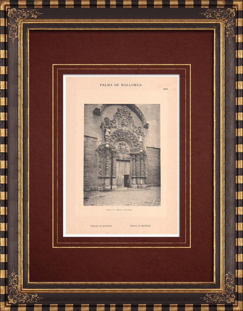 Antique Prints & Drawings   Portal of Montesión church - Palma de Mallorca - Balearic Islands (Spain)   Phototypie   1899