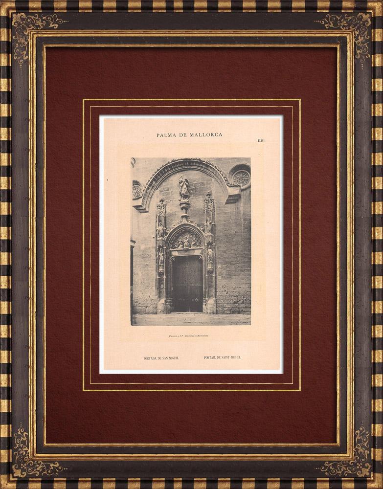 Gravures Anciennes & Dessins | Eglise de Saint Michel - Portail - Palma de Majorque - Îles Baléares (Espagne) | Phototypie | 1899