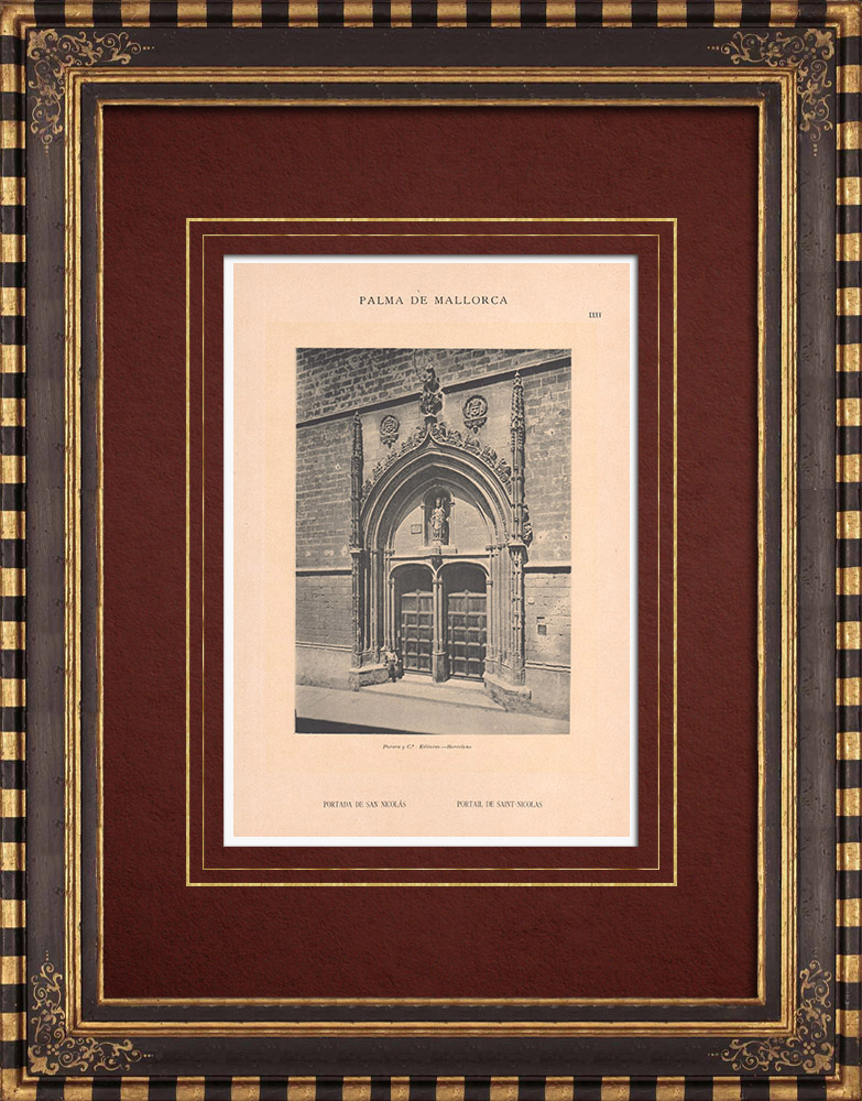Antique Prints & Drawings   Church - Iglesia de San Nicolás - Portal - Palma de Mallorca - Balearic Islands (Spain)   Phototypie   1899
