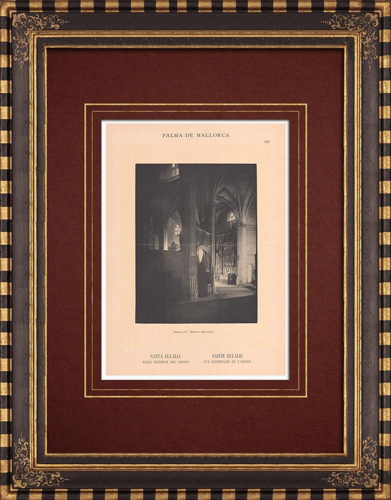 Gravures Anciennes & Dessins   Église Sainte-Eulalie - Intérieur de l'abside - Palma de Majorque - Îles Baléares (Espagne)   Phototypie   1899