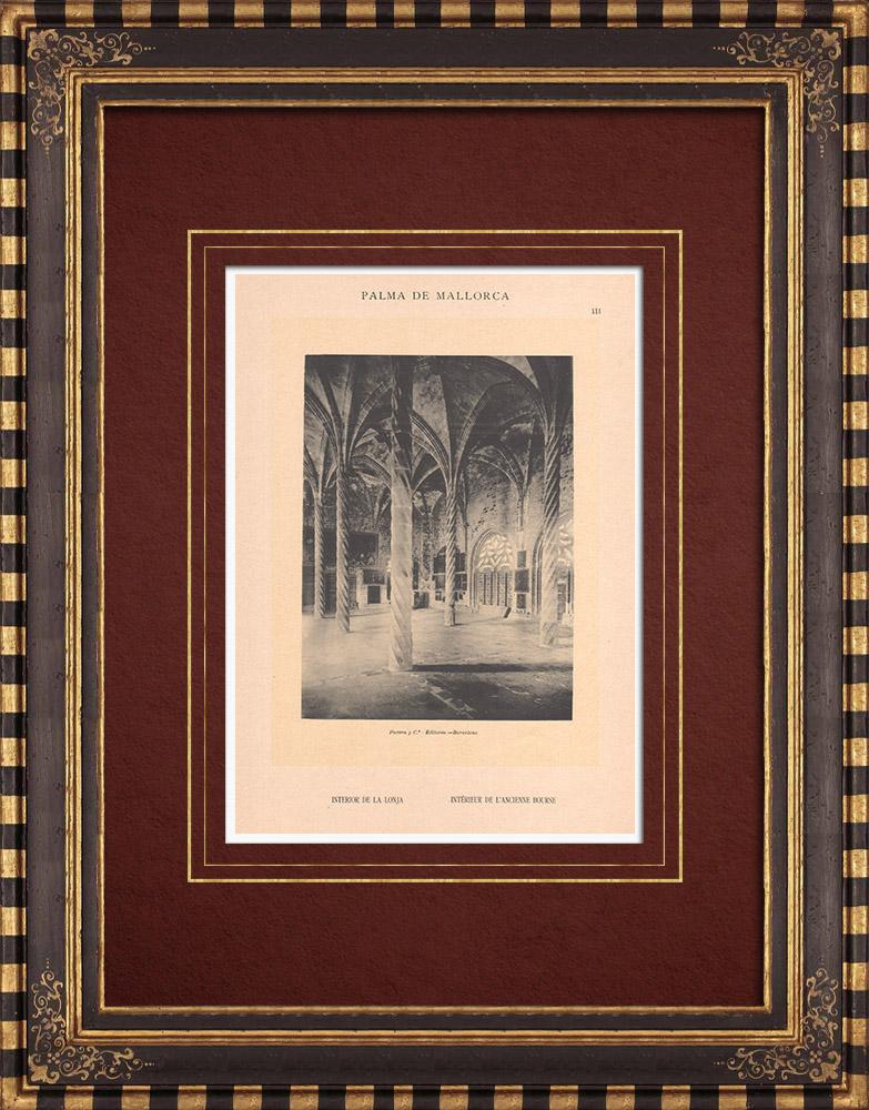 Gravures Anciennes & Dessins | Llotja de Palma - Bourse - Architecture gothique - Guillem Sagrera - Îles Baléares (Espagne) | Phototypie | 1899