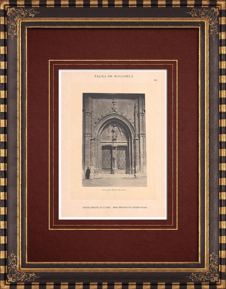 Antique Prints & Drawings | Llotja de Palma - Stock Exchange - Portal - Balearic Islands (Spain) | Phototypie | 1899