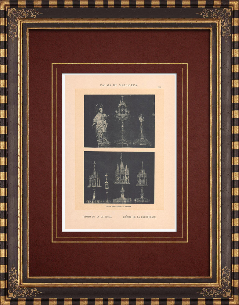 Antique Prints & Drawings | The Treasure of the Cathedral - Palma de Mallorca - Balearic Islands (Spain) | Phototypie | 1899