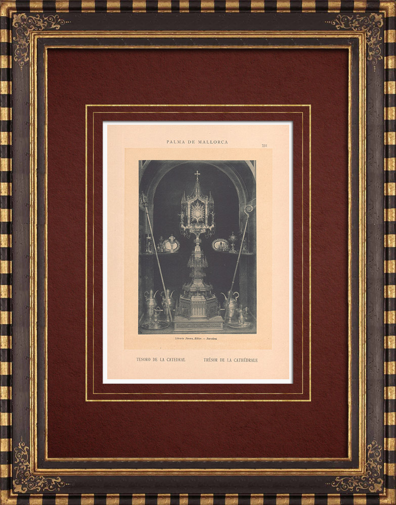Antique Prints & Drawings   The Treasure of the Cathedral - Palma de Mallorca - Monstrance - Balearic Islands (Spain)   Phototypie   1899