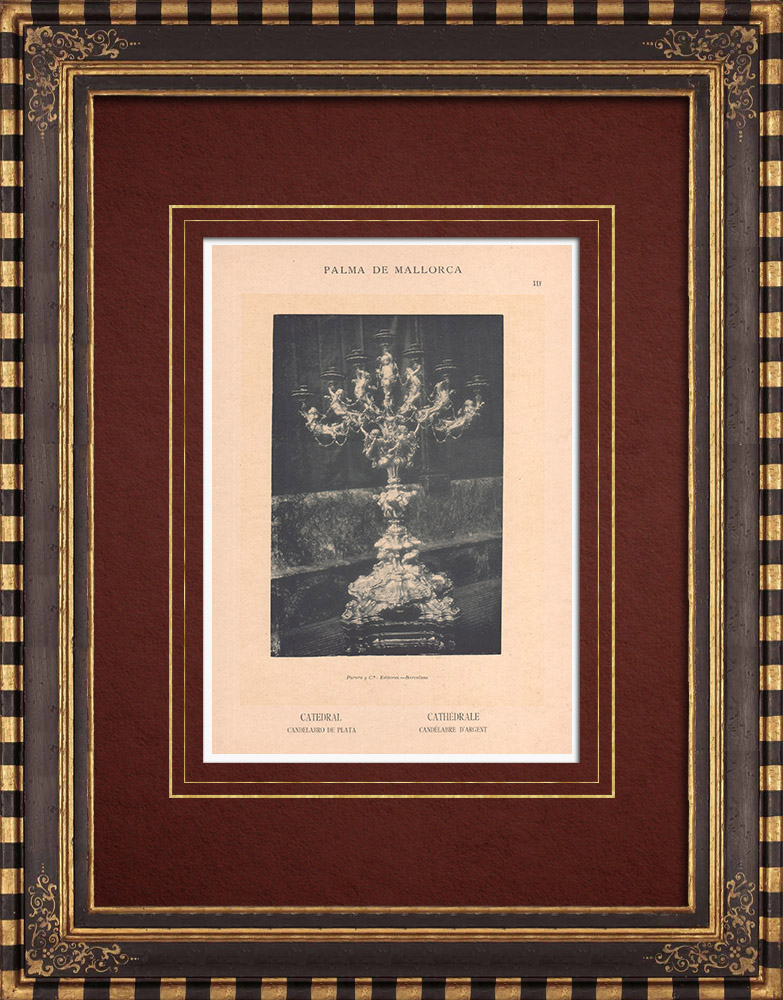 Antique Prints & Drawings   The Treasure of the Cathedral - Palma de Mallorca - Candelabrum - Balearic Islands (Spain)   Phototypie   1899