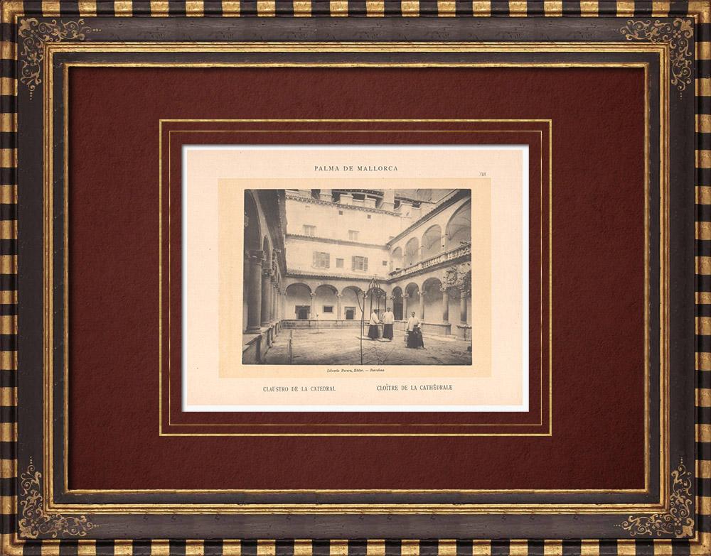 Gravures Anciennes & Dessins | Cloître de la Cathédrale de Palma de Majorque - Îles Baléares (Espagne) | Phototypie | 1899