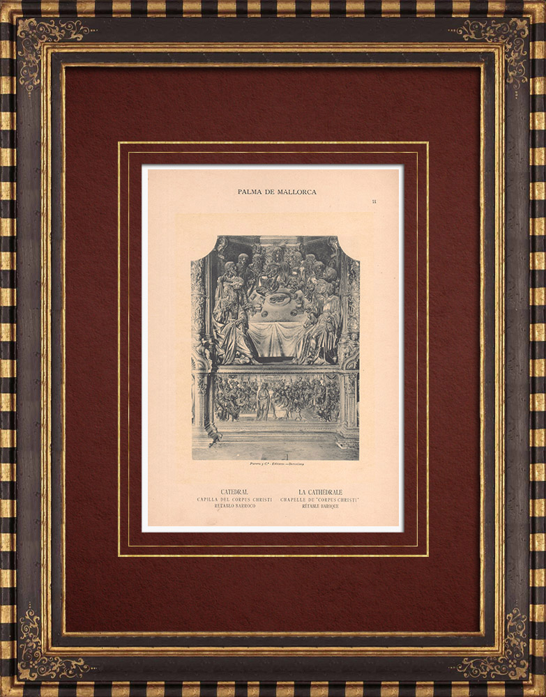 Antique Prints & Drawings | Baroque Altarpiece - Palma Cathedral - Balearic Islands (Spain) | Phototypie | 1899