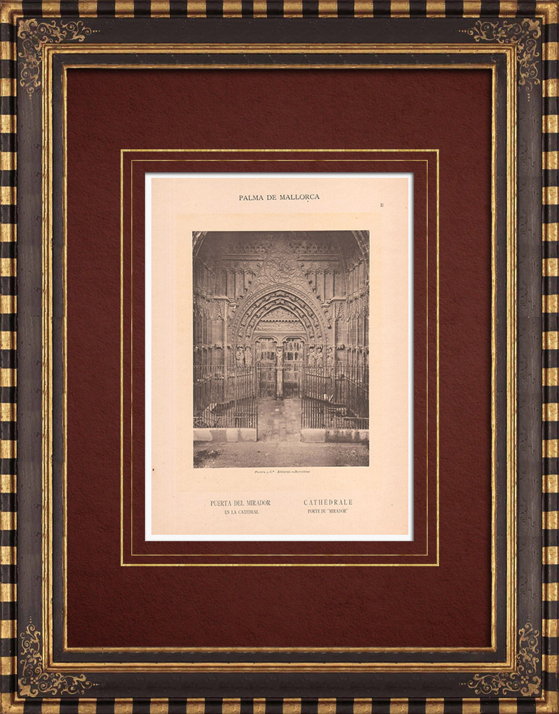 Antique Prints & Drawings | Palma de Mallorca Cathedral - Puerta del Mirador - Balearic Islands (Spain) | Phototypie | 1899