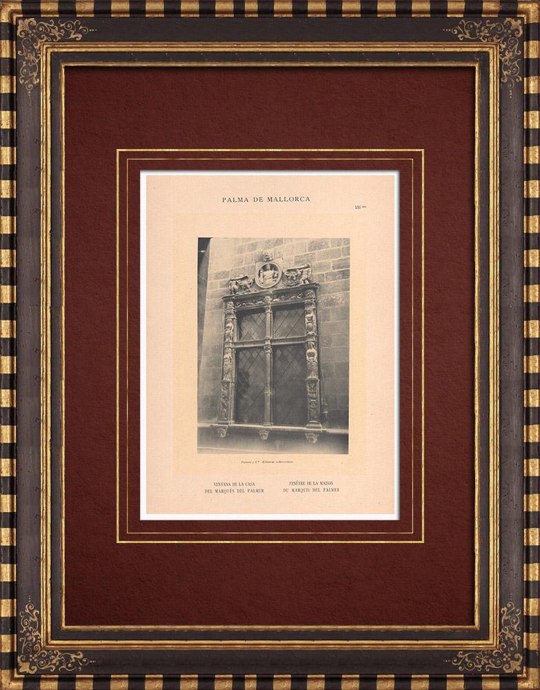 Antique Prints & Drawings | Renaissance window - House of the Marquis del Palmer - Palma de Mallorca (Spain) | Phototypie | 1899
