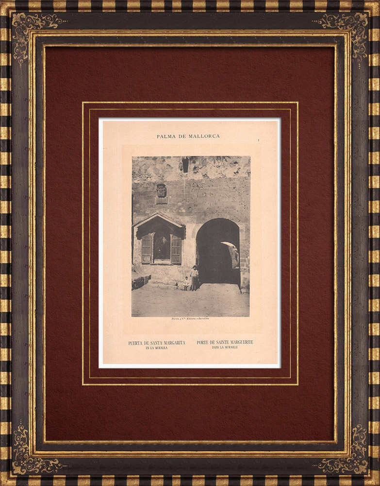 Grabados & Dibujos Antiguos | Puerta de Santa Margarita de Palma - Muralla - Islas Baleares (España) | Fototipia | 1899