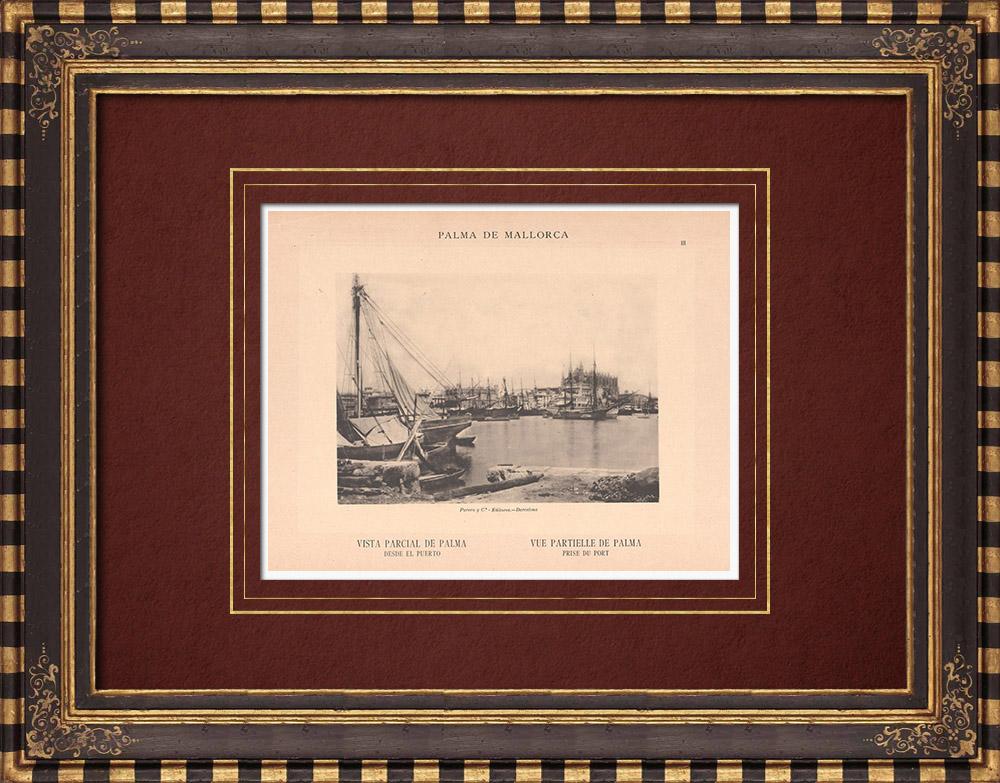 Gravures Anciennes & Dessins | Palma de Majorque vue du port - Iles Baléares (Espagne) | Phototypie | 1899