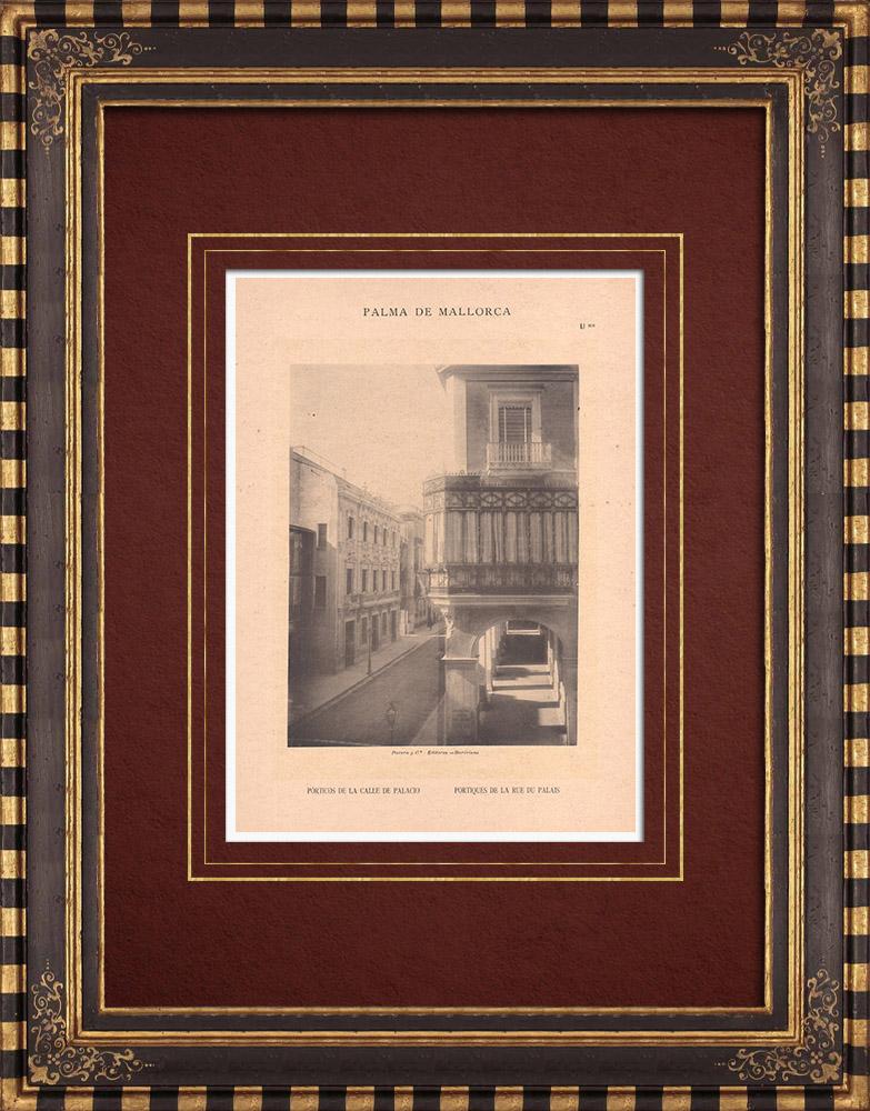 Antique Prints & Drawings | Calle de Palacio - Porticos - Palma de Mallorca - Balearic Islands (Spain) | Phototypie | 1899