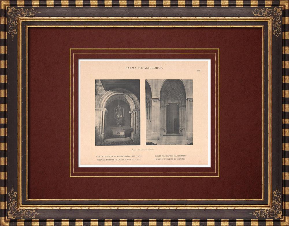 Antique Prints & Drawings | Romanesque Church of the Temple - Door of the Seminary's Oratory - Palma de Mallorca (Spain) | Phototypie | 1899