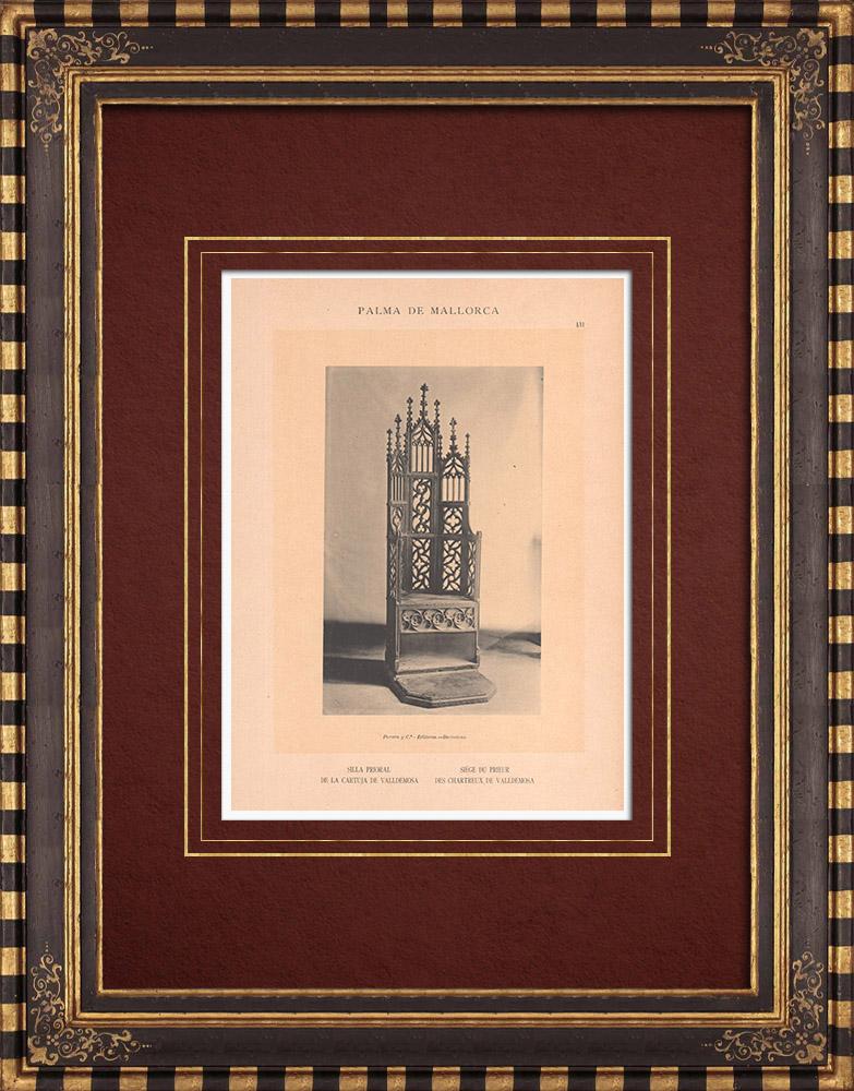Antique Prints & Drawings | Valldemossa Charterhouse - Seat of the prior - Majorca - Balearic Islands (Spain) | Phototypie | 1899