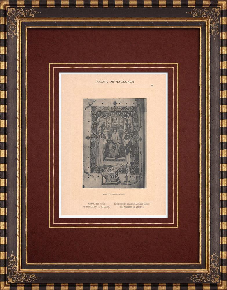 Antique Prints & Drawings | Codice de los Privilegios de Mallorca - Balearic Islands (Spain) | Phototypie | 1899