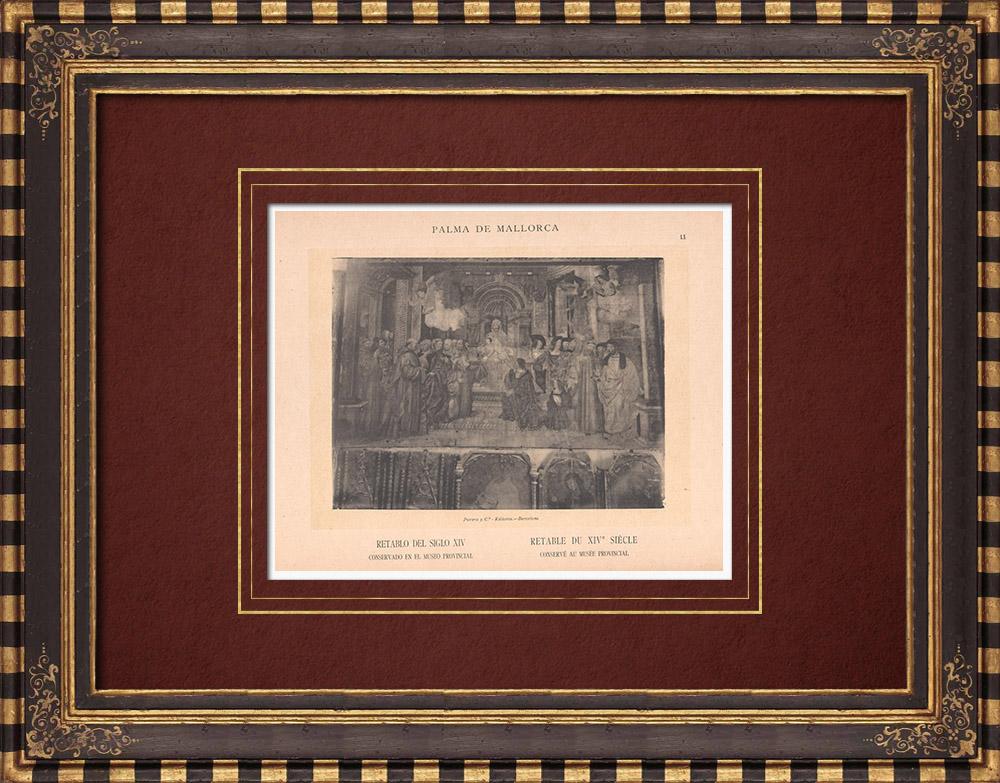 Gravures Anciennes & Dessins   Rétable du XIVème siècle - Musée Provincial - Palma de Majorque (Espagne)   Phototypie   1899