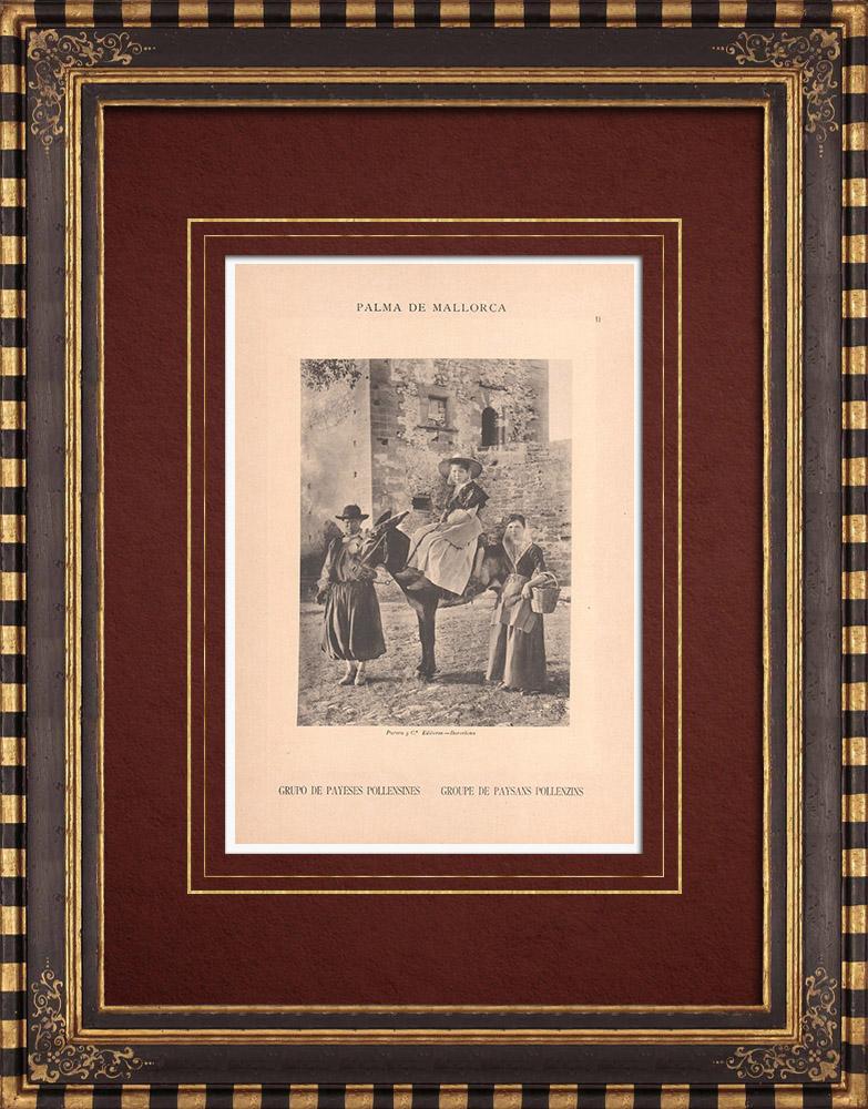 Antique Prints & Drawings   Farmings from Pollença - Costume - Balearic Islands - Majorca (Spain)   Phototypie   1899