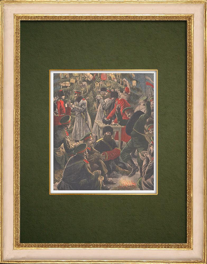 Gravures Anciennes & Dessins | Arbre de Noël des soldats russes - Guerre Russo-Japonaise - Mukden - Russie - 1905 | Gravure sur bois | 1905