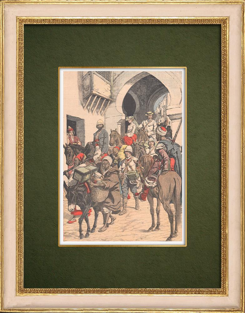 Grabados & Dibujos Antiguos | Caravana de Europeos que regresan a Fez - Marruecos - 1905 | Grabado xilográfico | 1905