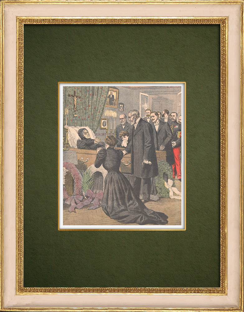 Antique Prints & Drawings   Death of the mother of Emile Loubet - Marsanne - Drôme - France - 1905   Wood engraving   1905
