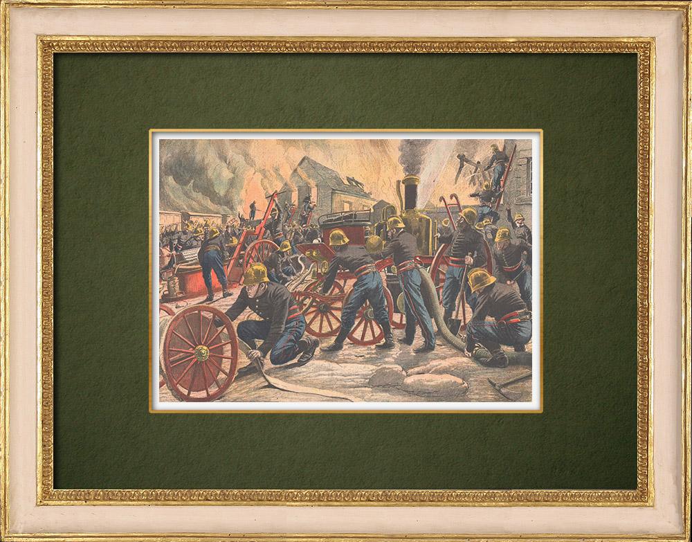 Antique Prints & Drawings   Fire at the Ballancourt paper mill - Île-de-France - 1905   Wood engraving   1905