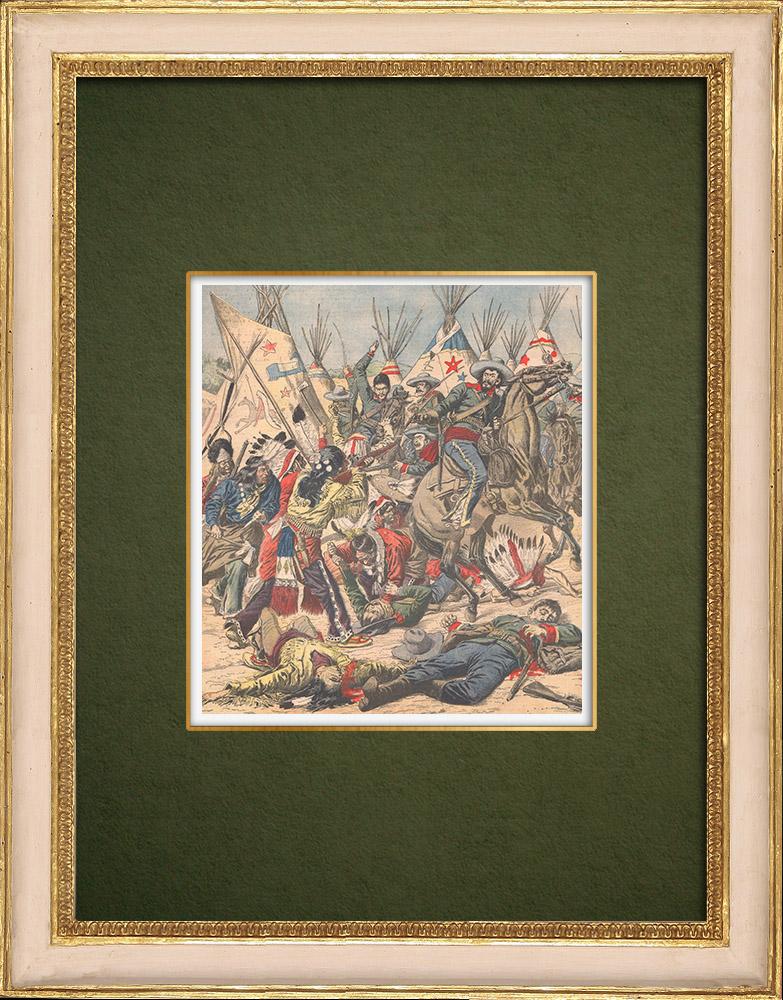 Gravures Anciennes & Dessins | Combat entre une tribu d'Indiens et les troupes mexicaines dans la Sonora - Mexique - 1905 | Gravure sur bois | 1905